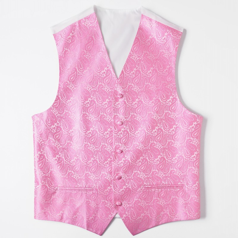 Ikepeibao Men's Classic Paisley Pink Slim Fit Wedding Vests Sleeveless Wedding Party Vest  Formal 8 Colors