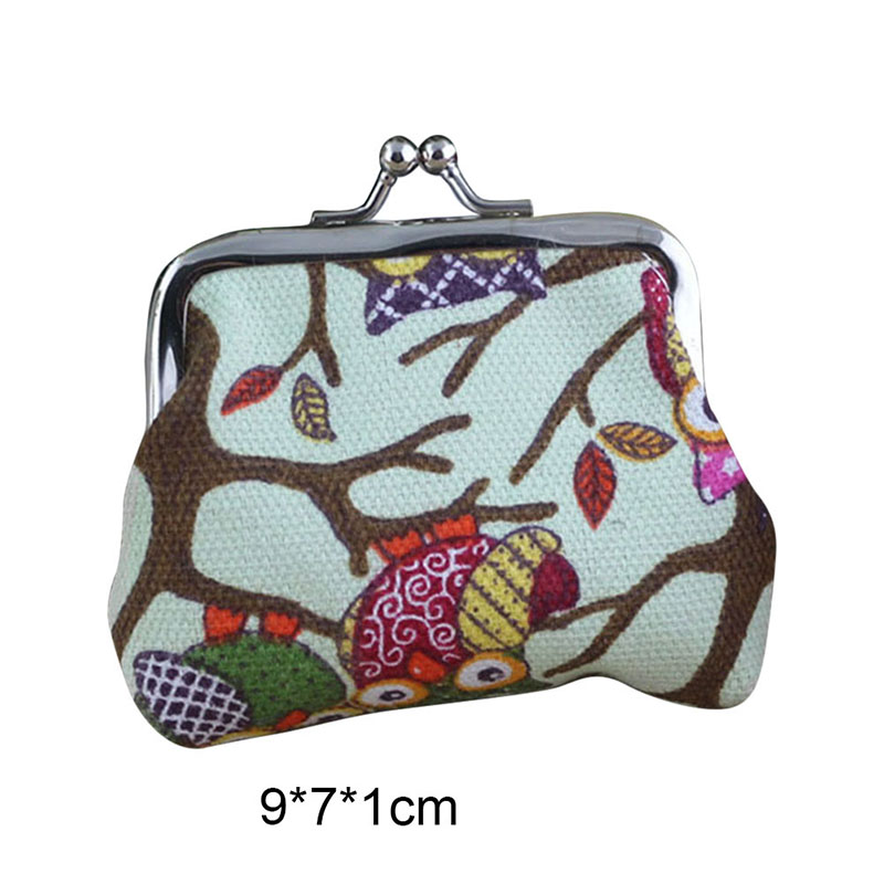Simple Fashion Korean Women Coin Purse Canvas Cartoon Owls Printing Ladies Girls Clutch Bag Children Wallet Popular