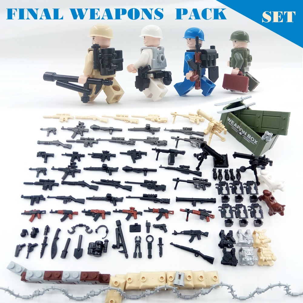 115PCS/Lot Military Figures Weapons Pack Army Soldiers Guns Series SWAT WW2 Model building Block Brick legoed For Children Toys цена