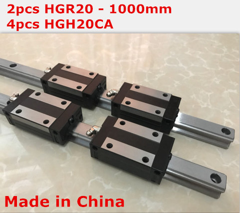 HG linear guide 2pcs HGR20 - 1000mm + 4pcs HGH20CA linear block carriage CNC parts салфетки hi gear hg 5585