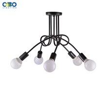 Vintage Black Iron Ceiling Lamp Dining Room Mall Ceiling Lights Lighting E27 110-240V Free Shipping