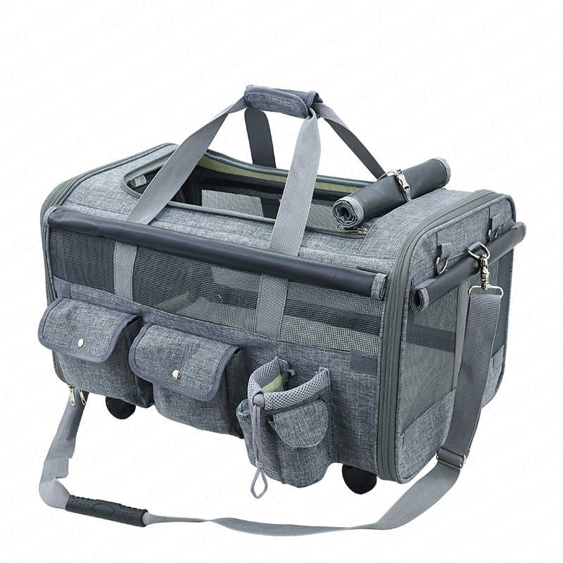 Fashion universal wheel portable pulley bag cat backpack dog out bag breathable pet travel bag portable pet cage