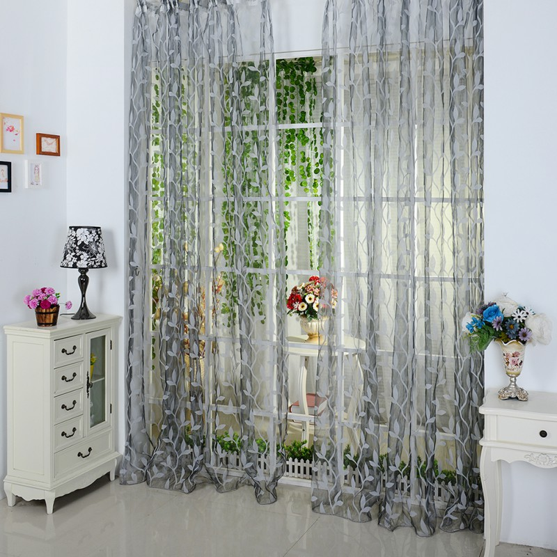 Fashion 1M X 2M Leaf Tulle Voile Door Window Curtain Drape Panel Sheer Scarf  Valance 4 Colors PY6
