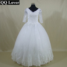 QQ Lover New Half Sleeves V-neck Sequined Lace Ball Gown Wedding Dress Bridal Gown Vestido De Noiva