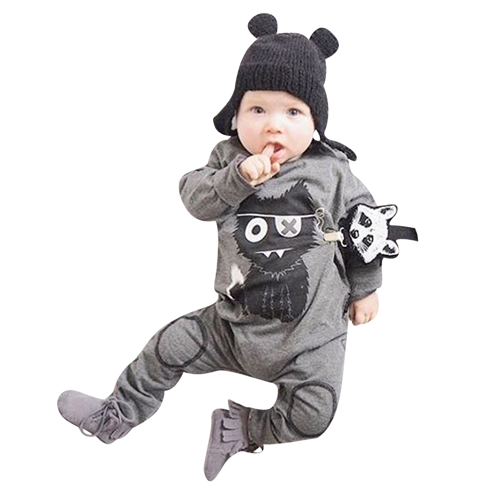 Spring Autumn Newborn Baby Rompers Cartoon Infant Kids Boys Girls Warm Clothing Romper Jumpsuit Cotton Long Sleeve Clothes sr118 baby rompers 2016 spring newborn cotton pajamas clothes bebe long sleeve hooded romper infant overall boys girls jumpsuit