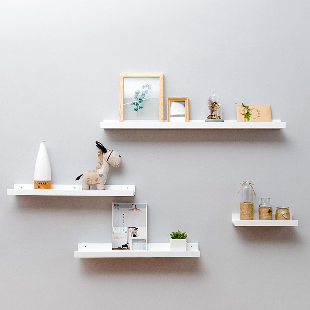 1pc Bamboo Wall Shelf Floating Ledge Storage Wall Shelves