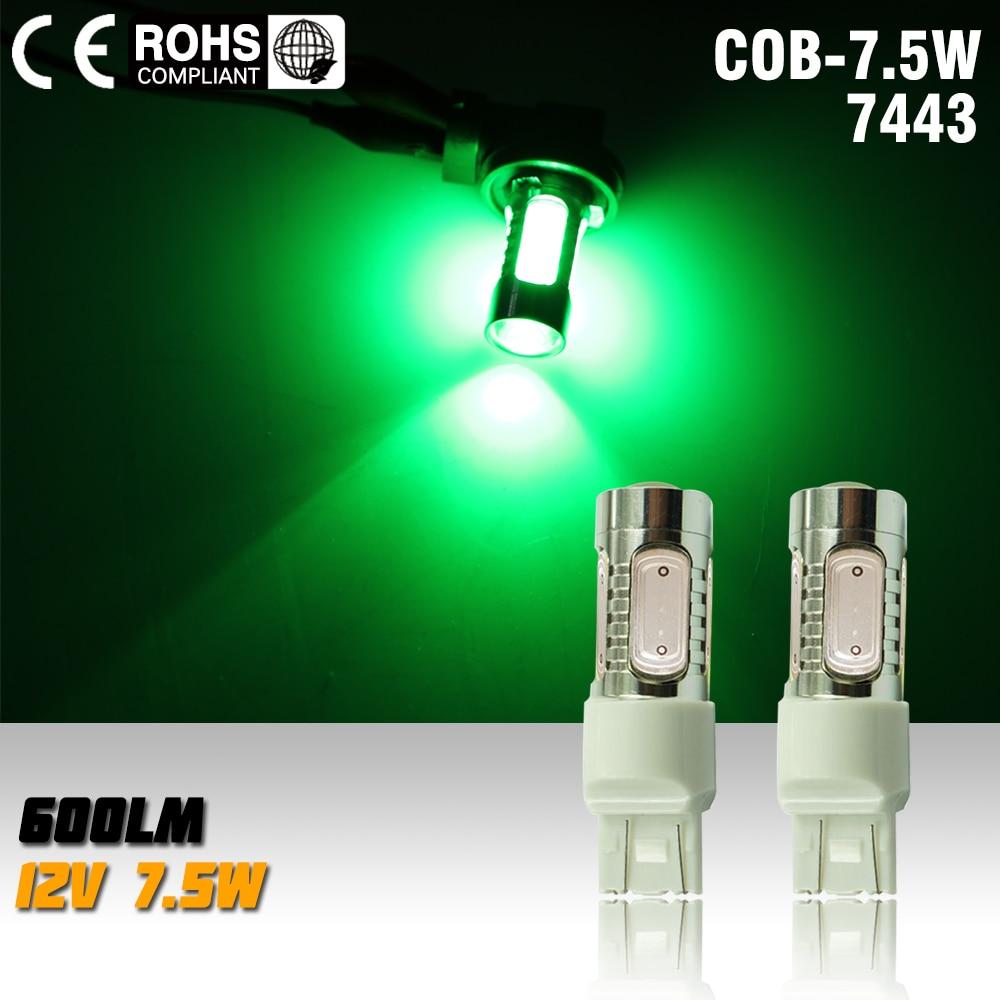 2X T20 7.5w 12v Led Car Light Source green 7443 Led Auto Brake Bulbs w21/5w Parking High Power Car Led Lamp