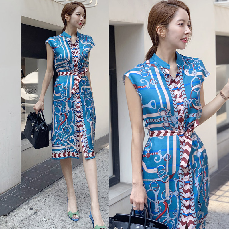 Chinese Style Summer Women  Elegant Maxi Single-breasted Dress Tank Sleeveless Stand Neck Knee Dresses Vintage Vestidos 2019 Fes