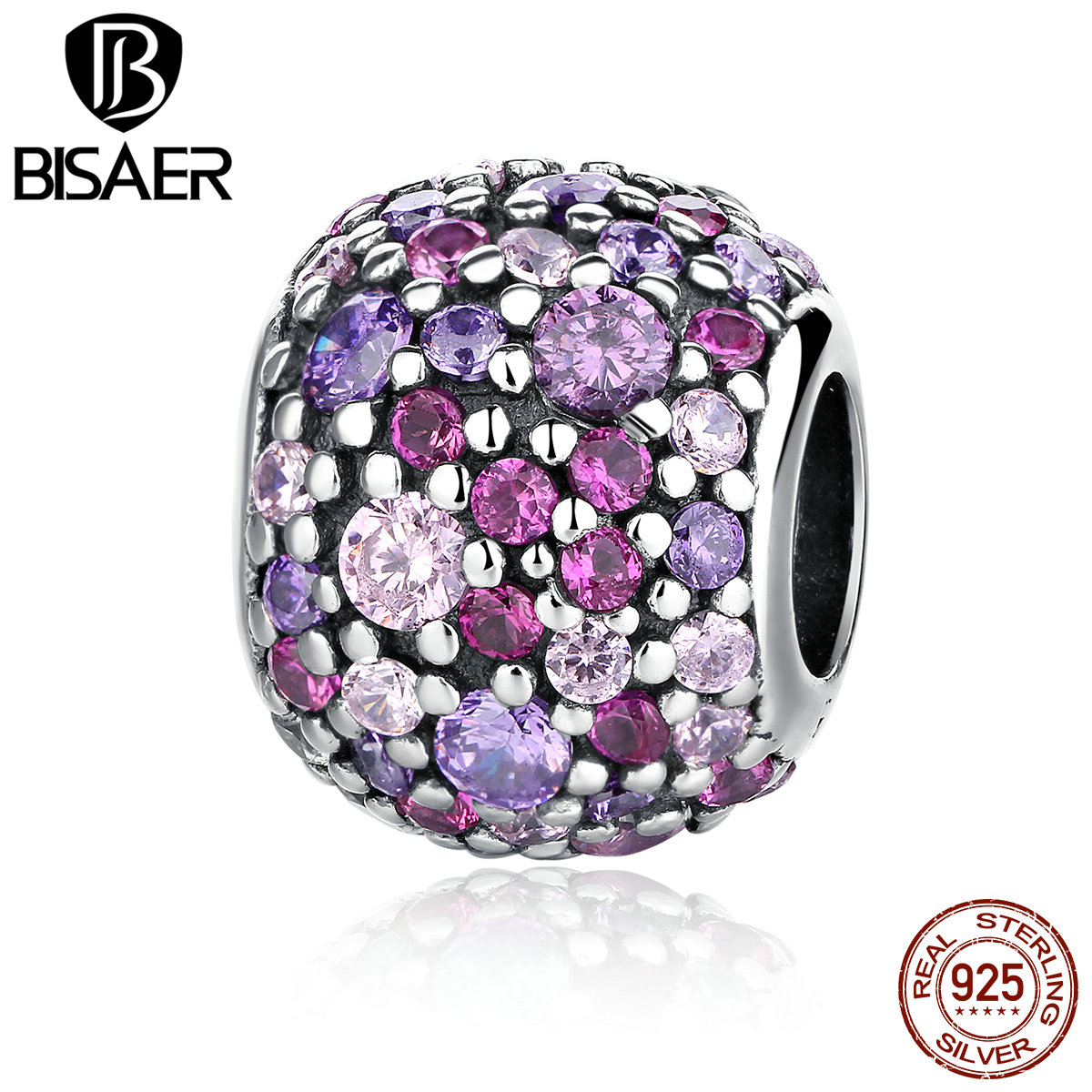 Genuine 925 Sterling Silver Pink Sparkles Pave Ball Beads Charms Pendant fit Original Charm Pandora Bracelet