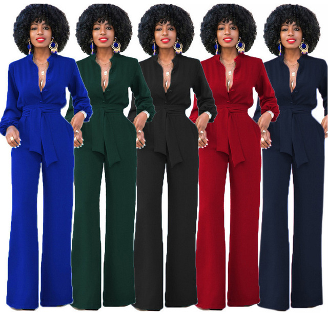 3b6056117df15 3XL Plus size women office wide leg jumpsuit long romper 2018 long sleeve  sexy v neck