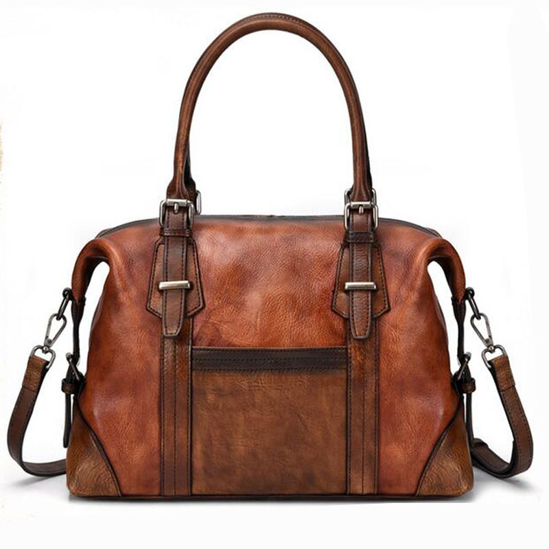 Women Genuine Leather Cross Body Messenger  for Female Top Handle Bag First Layer Cowhide Retro Handbag Female Shoulder Tote Bag
