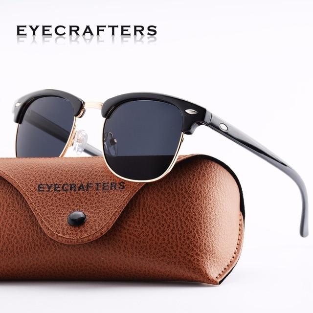 440fc97253e Bright Black Designer Inspired Classic Half Frame Horned Semi-Rimless Mens  Womens Fashion Sunglasses Polarized