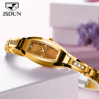 JSDUN Top Luxury Brand Fashion Diamond Gold Tungsten Steel Quartz Ladies Watch 30 M Waterproof Watch Women Relogio Feminino2018
