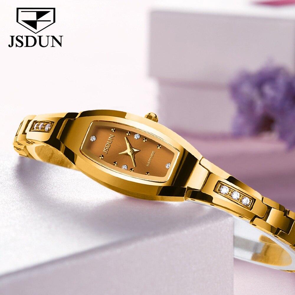 JSDUN Top marque de luxe mode diamant or tungstène acier Quartz dames montre 30 M étanche montre femmes Relogio Feminino2018