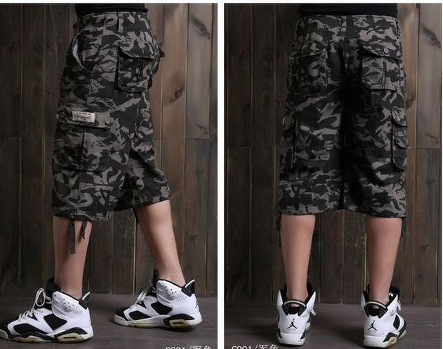 2015 Men big yard summer cargo pants New military camouflage capri joggers pants Men loose sweatpants Hip-hop trousers