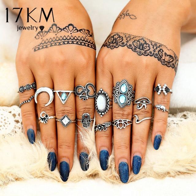 17KM Vintage Opal Stone Rings Set For Women 2018 Turkish Moon Flower Midi Finger