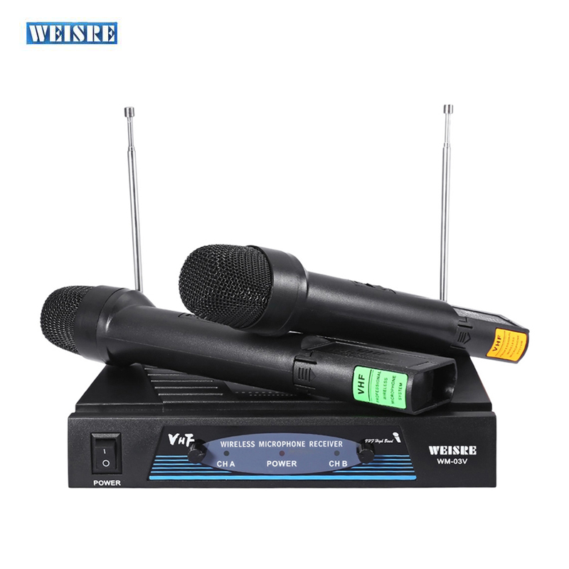 WEISRE WM-03V Professional VHF Karaoke Wireless Dual Handheld Mic Transmitter Microphone System With Receiver For Family DIY KTV professional wireless microphone karaoke digital led display handheld microfone with receiver transmitter set for ktv home
