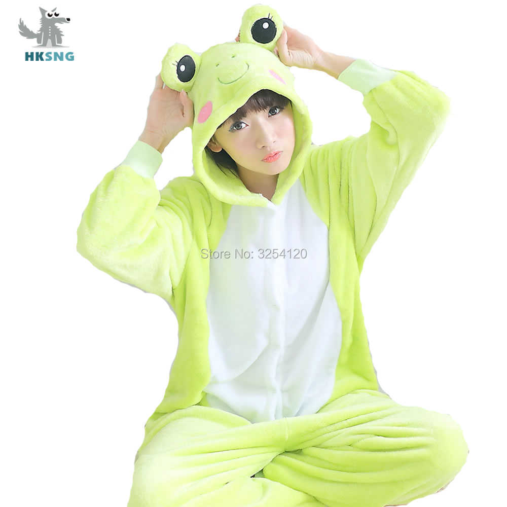 HKSNG Animal Frog Onesies Pajamas High Quality Flannel Family Party Cartoon Cosplay Costumes Jumpsuits Sleepwear Kigurumi