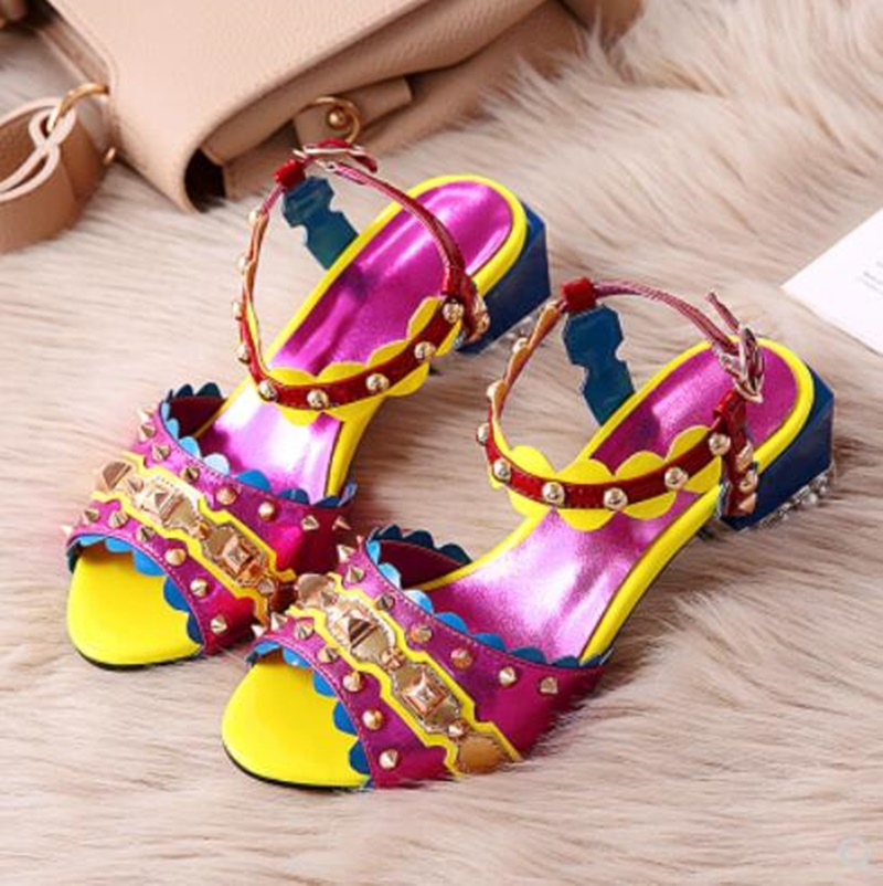 2018 Women Sandals Shoes High Heels Sandals Block Chunky Heeled Colorful Real Leather Crystal Riverts Ankle Strap Sandals2018 Women Sandals Shoes High Heels Sandals Block Chunky Heeled Colorful Real Leather Crystal Riverts Ankle Strap Sandals