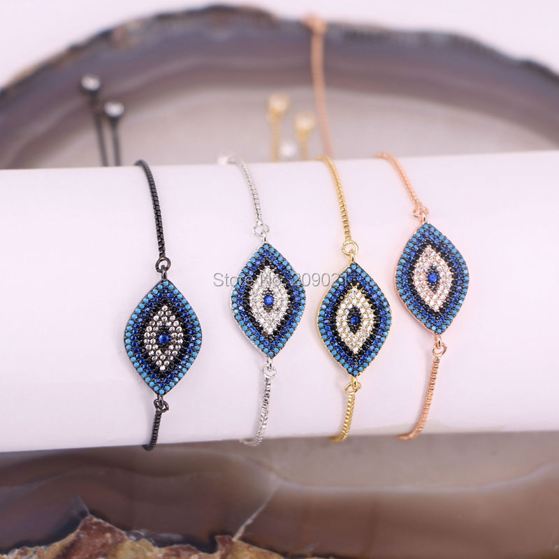 Hot New 10Pcs Micro Pave CZ Stones Eye Bracelet Charm Bracelet Fashion Jewelry Gift