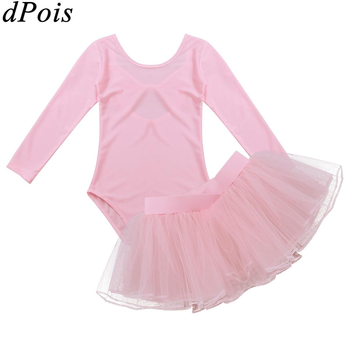 2 Pcs Kids Ballet Jurken Voor Meisjes Lange Mouwen Gymnastiek Turnpakje En Rok Set Ballet Dans Tutu Jurk Kinderen Party Kostuum Grote Uitverkoop