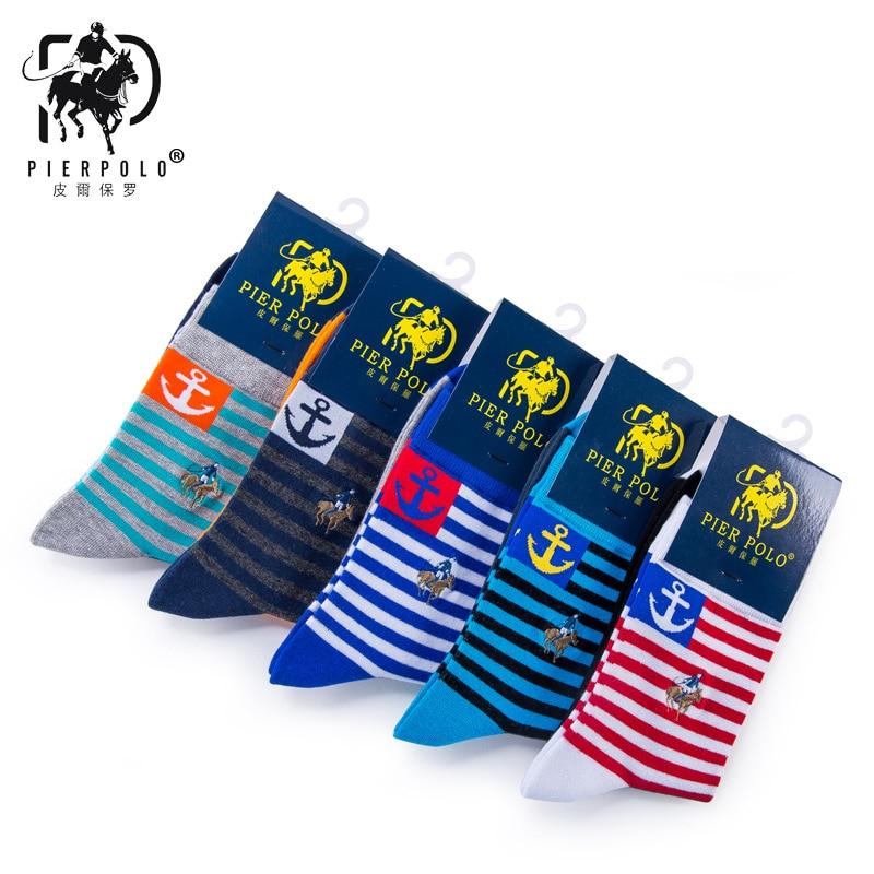 5 пар/лот Для мужчин Носки для девочек чистый полоса хлопок трубка Socken дешевые носки emboridiery Для мужчин Пирс поло Повседневное Носки для девоч...