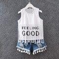 Одежда летний стиль девочки одежда комплект бахромой жилет буква т - + джинсовые костюм мода детская одежда