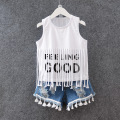 Children clothing summer style baby girls clothing sets fringed vest letter t-shirt + denim short suit fashion kids clothes