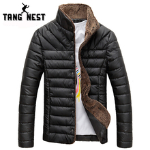 2016 Men Winter Jacket Warm Casual All-match Single Breasted Solid Men Coat Popular Coat For Male Black Color Size M-3XL MWM432