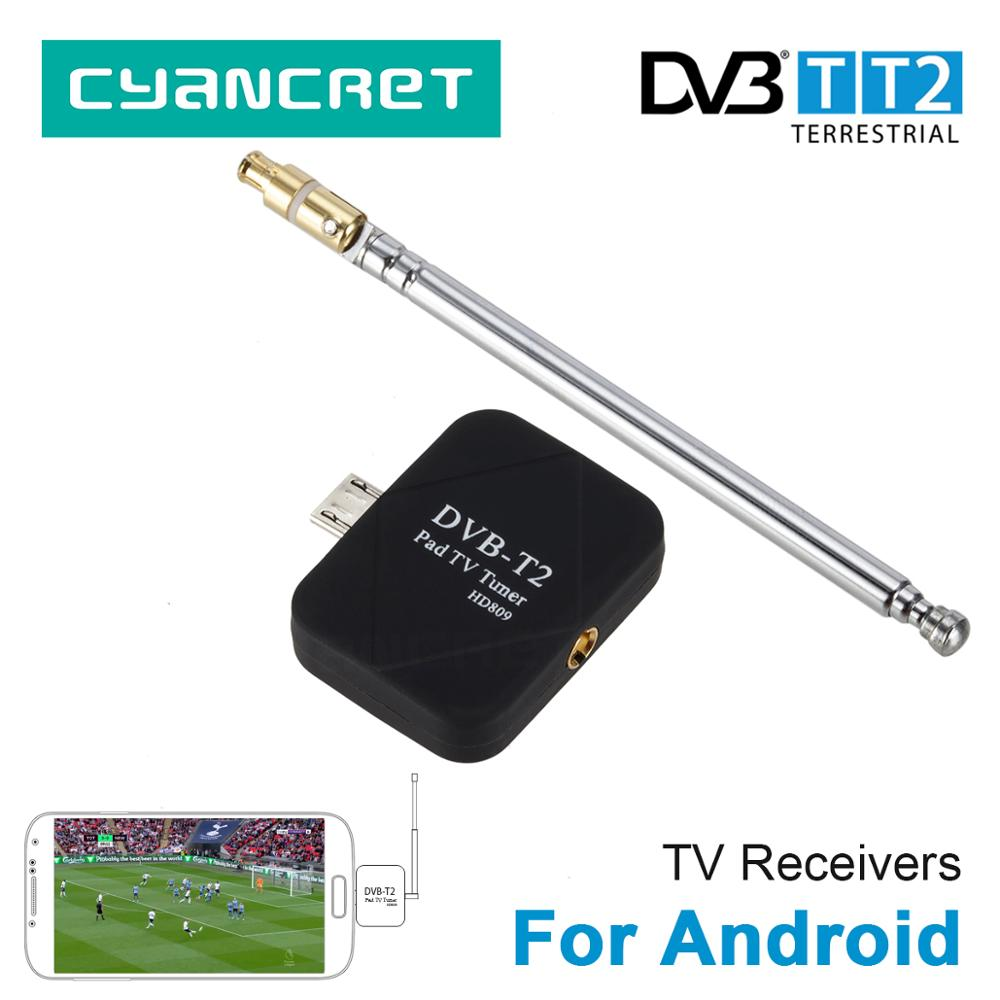 DVB-T2 DVB-T HD Sintonizzatore TV Digitale Ricevitore TV per Android Del Telefono Mobile Pad Tablet HDTV TV Stick con Micro USB due Antenna