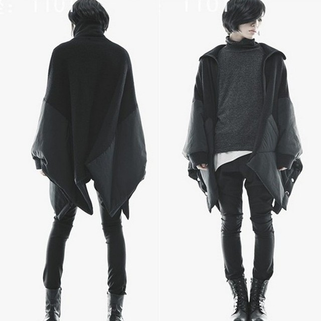 2017 nova moda casaco quente dos homens Coreano solto personalidade excêntrica de algodão mais trincheira blusão