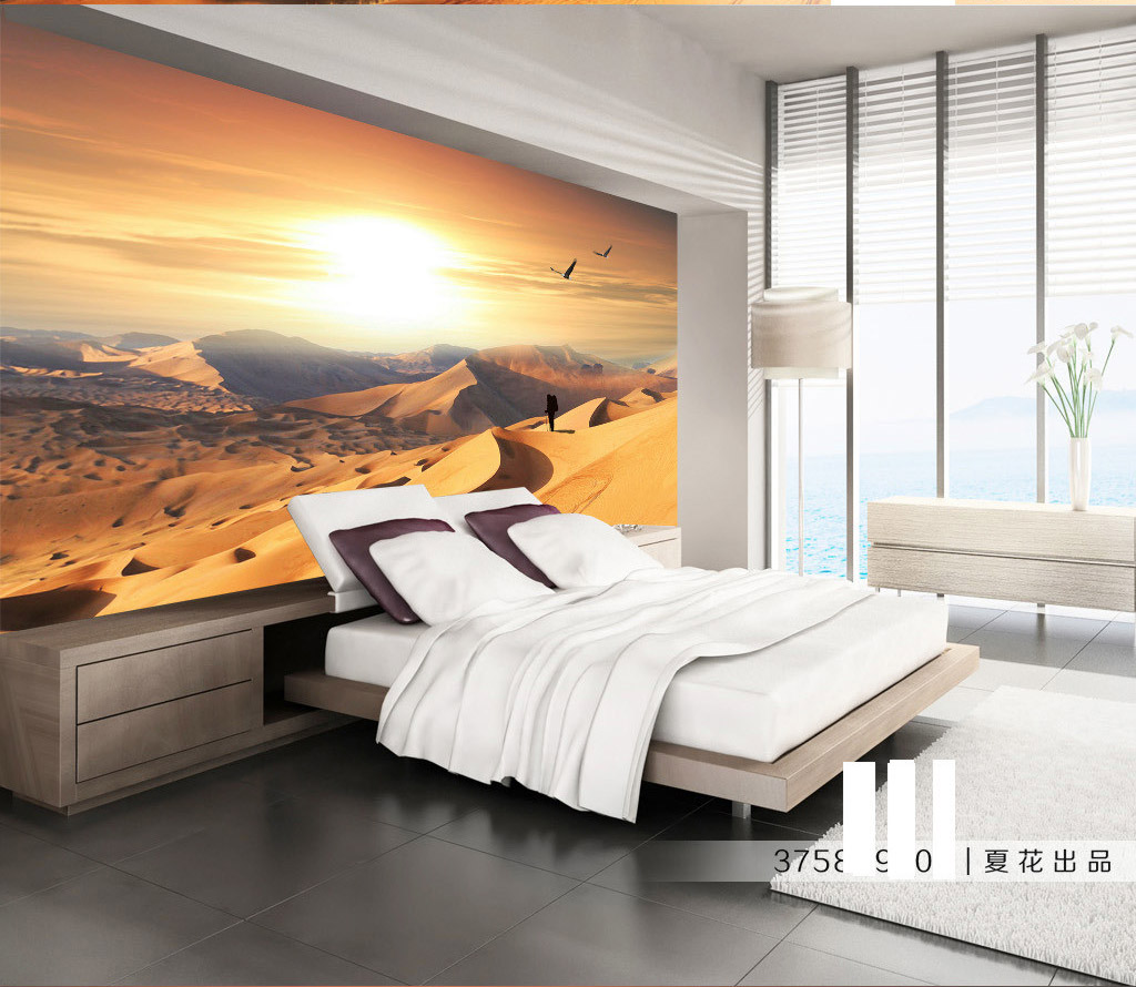 Living Room Made Of Sand: Natrual Landscape Golden Desert Sand View 3D Room Photo