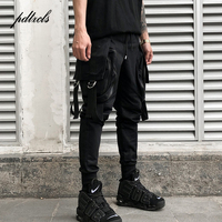 2018 Hot Fashionable Darkly Style Men Jogger Trousers Autumn Hip Hop Male Streetwear Multi Pocket Ribbon Sweatpants Pencil Pants