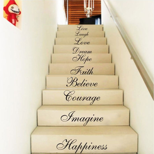 DIY Letter Words Stair Riser Stickers Wall Sticker Decals for Home ...