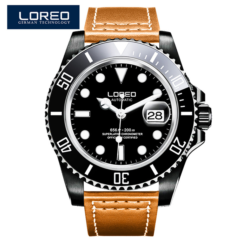LOREO Luxury Brand Waterproof 200M Military Sport Watches Men Leather Automatic Mechanical Watch Switzerland Clock Relogios