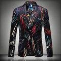 2016 новый Цветок пиджак пиджак мужской тонкий мода мужская мода личности плоским байки печати пальто высокого качества пром жених