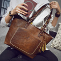 2017 PU Leather Handbag Bolsas Women's Vintage Designer Tassel Big Women Causual Bag Retro Tote Bags large shoulder handbags