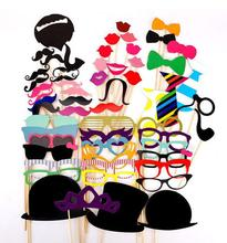 58pcs/set Photo Booth Props Glasses Mustache Lip Mask Fun Colorful paper Card For Wedding Birthday Party Decoration gift Wh