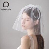 Parmalambe Handmade Blusher Veil Bridal Accessories Short Wedding Veil Ivory Two Layer Wedding Accessories velo de novia