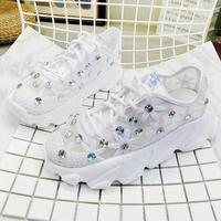 Women's Shoes White Sneaker Women Platform Thin Mesh Breathable Rhinestone Lace up Summer Flower Ladies Shoes Sneakers