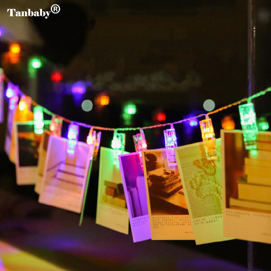 Tanbaby Led Photo Clip String Lights Aa Battery Operated Indoor Outdoor Decoration Rope For Hanging Pictures