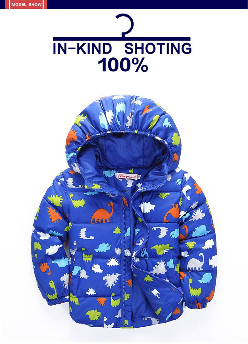 80-120cm Dinosaur Winter Kids Boy Jacket Cotton Outerwear Baby Boy Padded Jacket Children Winter-Clothing Hooded Kids Coat (12)