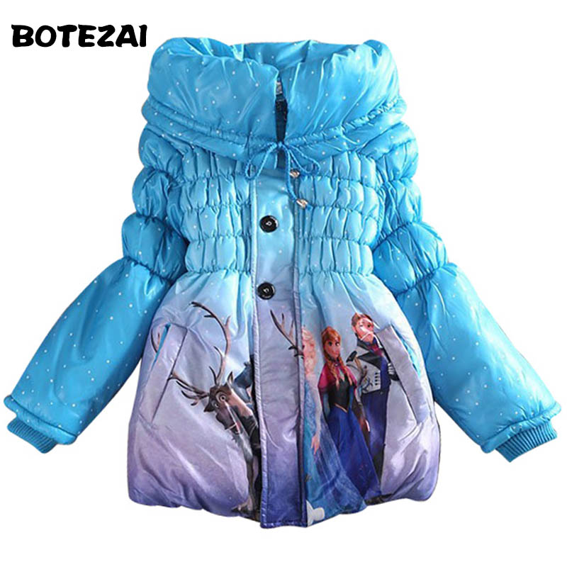 купить Retail 2017 new Children Outerwear Coats Cute Cartoon Girls Warm Coat Winter Child Cotton Jacket thick Cotton-Padded Clothes по цене 928.85 рублей