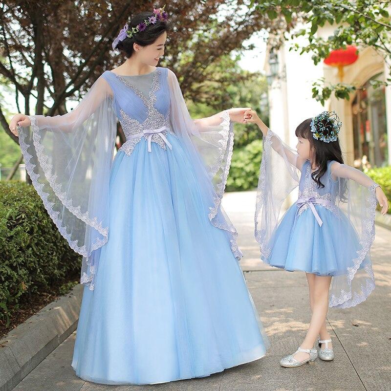 Mutter Tochter Kleider für Hochzeit Abend Lange Ballkleid Mädchen Formales Kleid Familie Passende Kleidung Blaue Fee Kostüm - 2