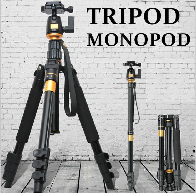 Amopofo professionnel Q555 appareil photo reflex trépied portable et léger voyage photographie monopode, tête Variable Alpenstock