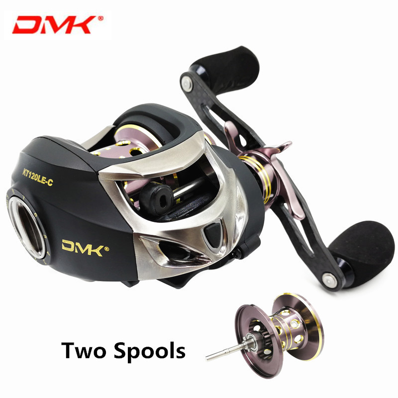 DMK Two Spool 7.0:1 Full Carbon Fiber Low Profile Baitcasting Reel Left Hand Carbon Handle Saltwater Bait Cast Reel Fishing Reel trulinoya full metal body baitcasting reel 7 0 1 10bb carbon fiber double brake bait casting fishing reel max drag 7kg