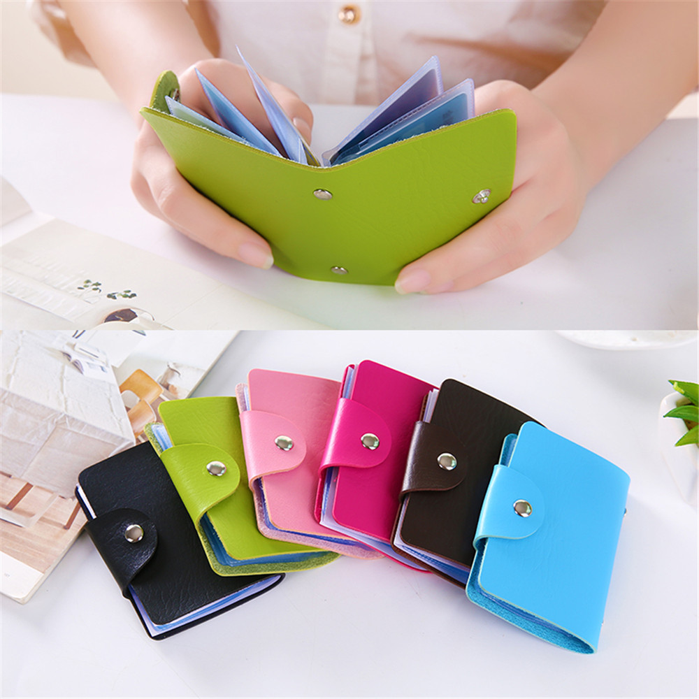 Card Holder & Note Holder Office & School Supplies Hearty 1pc Pu Function 24 Bits Credit Card Holder Business Id Card Case Solid Color Card Organizer Portable Korea Card Holder In Pain