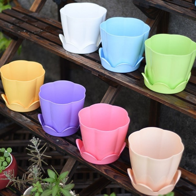 1PCS Thick Plastic flower fleshy flower Pot Home Gardening Species Strawberry Seedlings Large Potted Green flower Pots with Tray