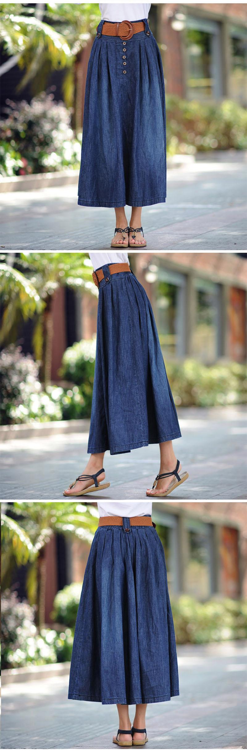 US $20.01 31% OFF|Voobuyla summer Street Style damskie spódniczki dżinsowe wysokiej talii długa jeansowa spódniczka moda damska plisowane spódniczki