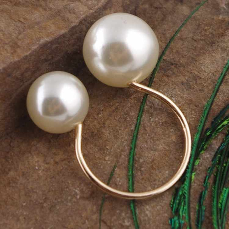 Punk 2018 Fashion New Ring U-shaped Pearl Opening Adjustable Ladies Wholesale Ring Aneis Feminino Lord Of The Ring